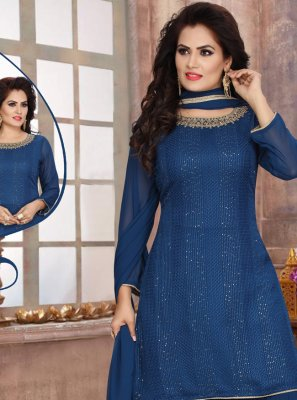 Fancy Georgette Readymade Suit in Blue