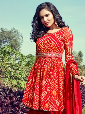 Fancy Georgette Readymade Suit in Red