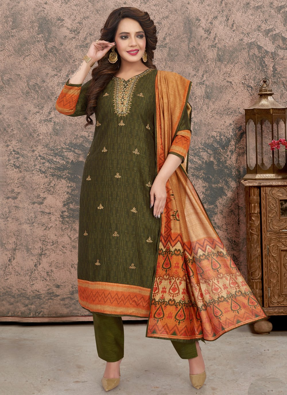 Fancy Green Art Silk Readymade Suit
