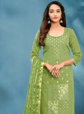 Fancy Green Cotton Silk Churidar Designer Suit