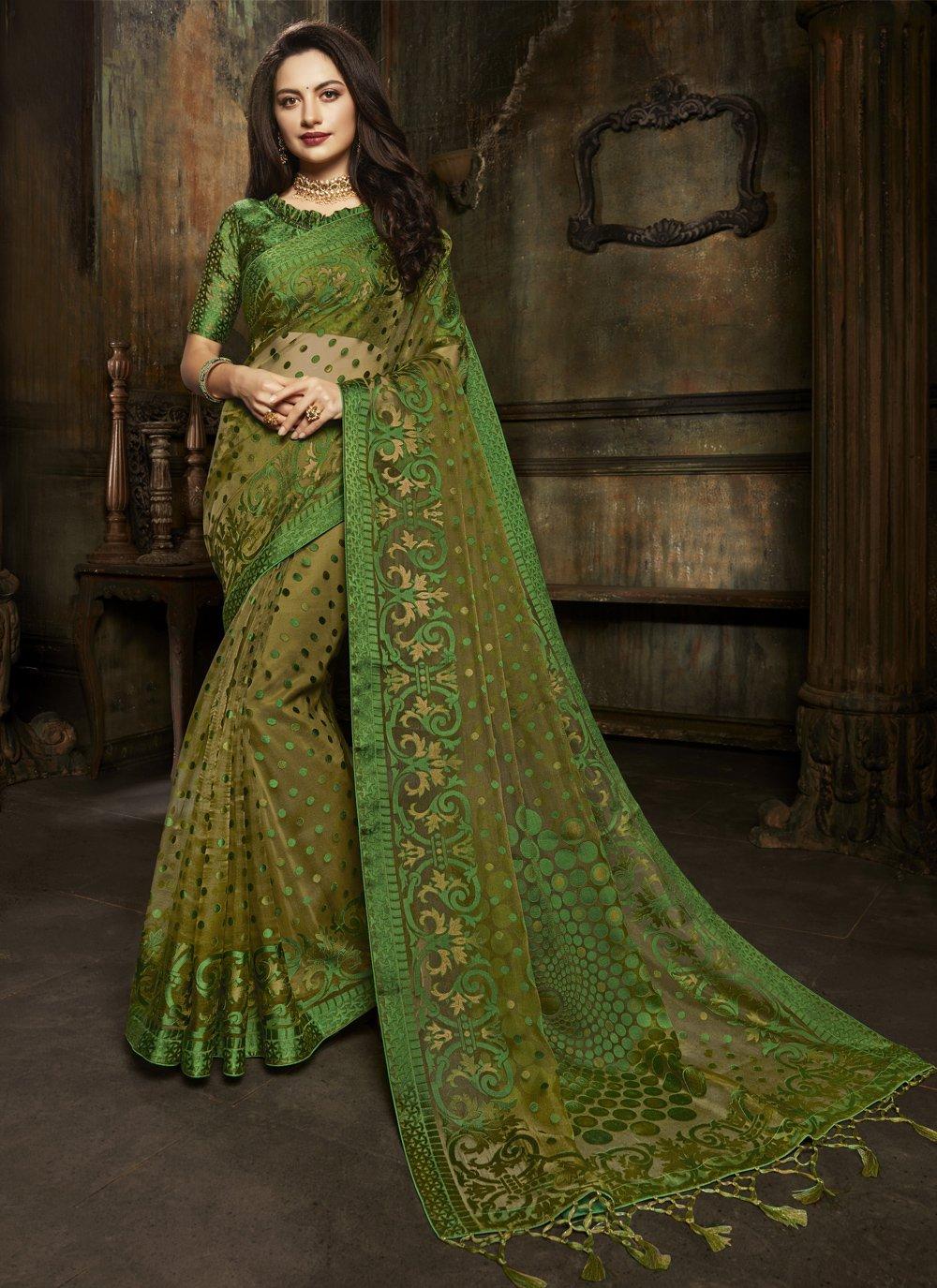 Fancy Green Designer Saree