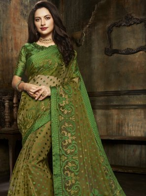 Fancy Green Designer Saree
