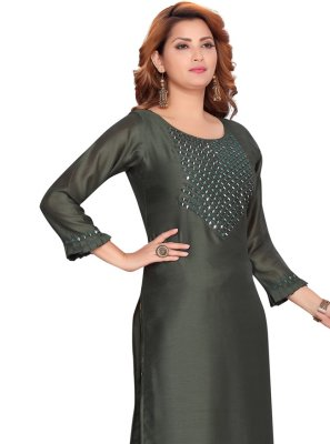 Fancy Green Silk Party Wear Kurti