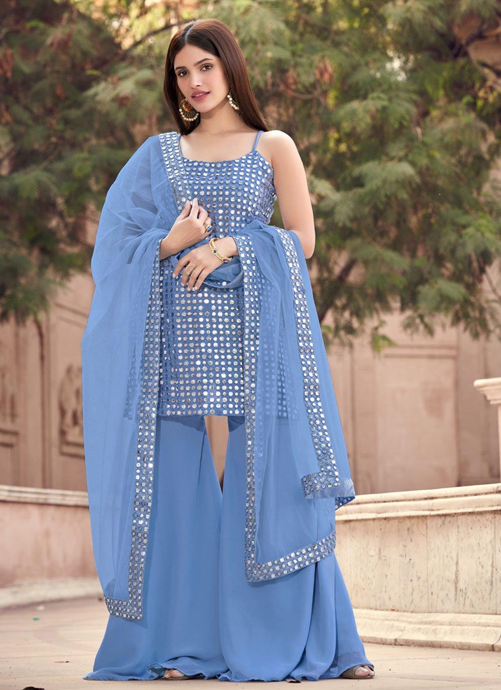 Fancy Grey Faux Georgette Designer Pakistani Suit
