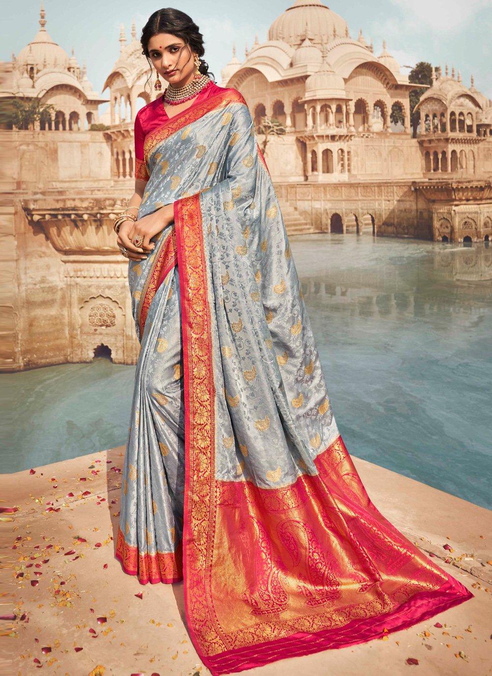 Fancy Grey Traditional Saree