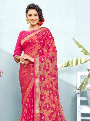 Fancy Hot Pink Faux Chiffon Classic Saree