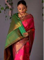 Fancy Hot Pink Traditional Designer Saree