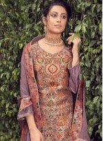 Fancy Jacquard Silk Lavender Designer Pakistani Suit