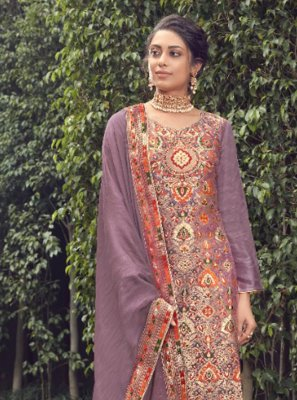 Fancy Jacquard Silk Lavender Designer Pakistani Suit