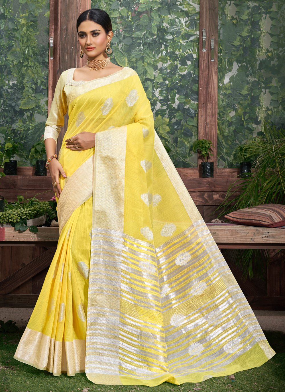 Fancy Linen Classic Designer Saree in Yellow