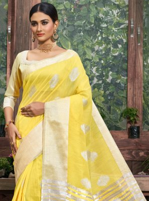 Fancy Linen Classic Designer Saree in Yellow