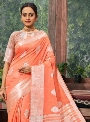 Fancy Linen Classic Saree in Peach