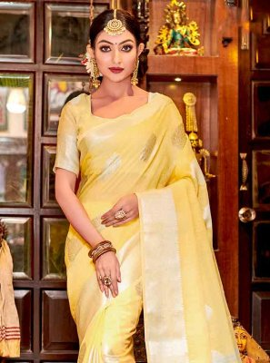 Fancy Linen Trendy Saree in Yellow