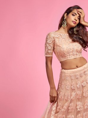 Fancy Net A Line Lehenga Choli in Cream