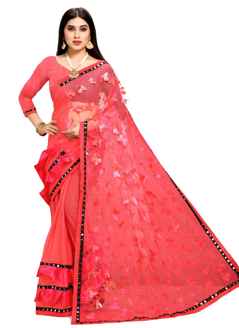 Fancy Net Half N Half Designer Saree in Rose Pink