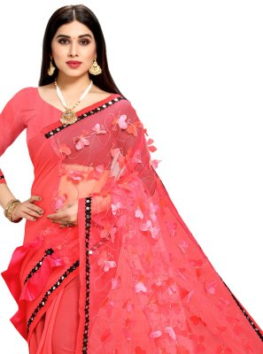 Fancy Net Half N Half Designer Saree in Rose Pink
