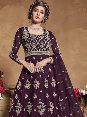 Fancy Net Purple Floor Length Anarkali Suit