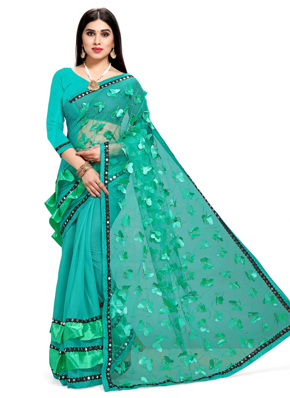 Fancy Net Sea Green Half N Half  Saree
