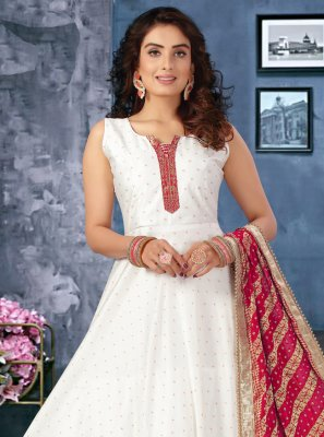 Fancy Off White Chanderi Floor Length Anarkali Salwar Suit