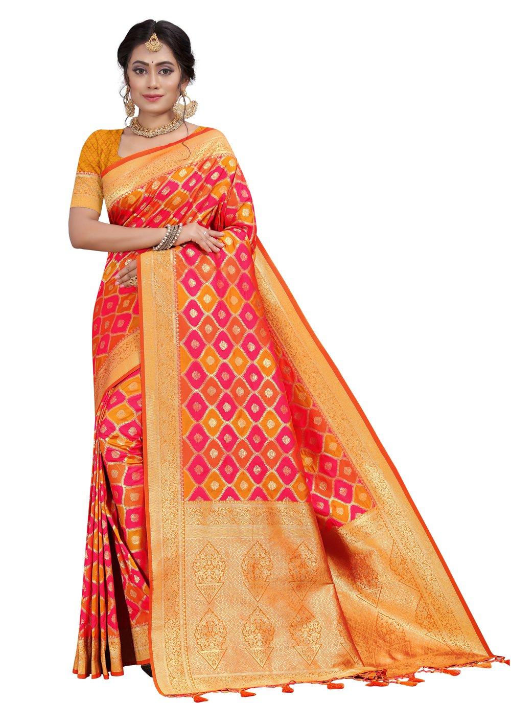 Fancy Orange and Pink Traditional Designer Saree