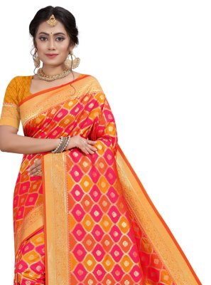 Fancy Orange and Pink Traditional Designer Saree