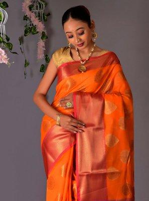Fancy Orange Chanderi Cotton Classic Designer Saree