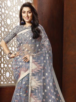Fancy Organza Designer Saree in Grey