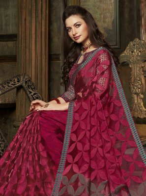 Fancy Organza Designer Saree in Magenta