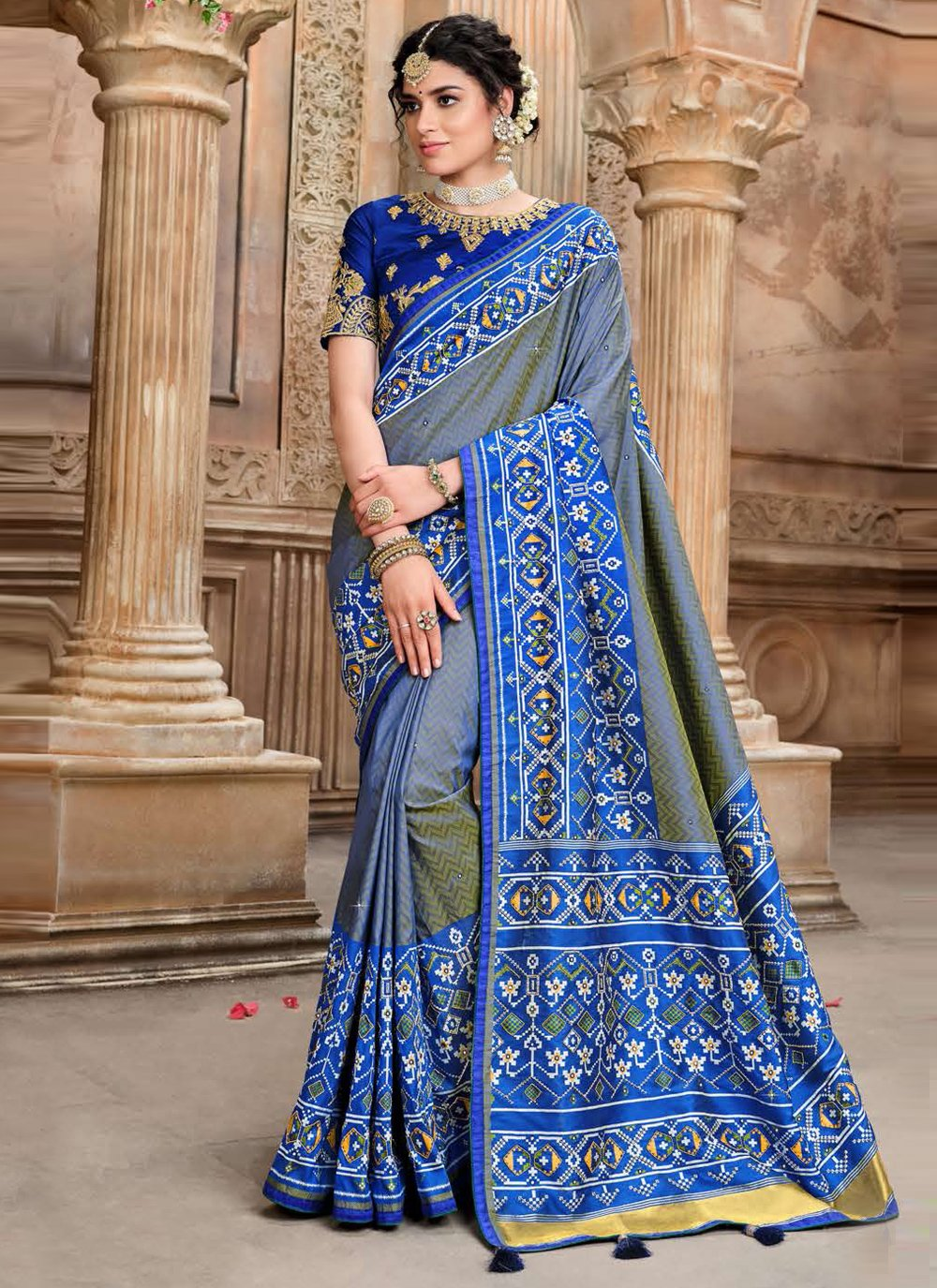 Fancy Patola Silk  Traditional Designer Saree in Blue