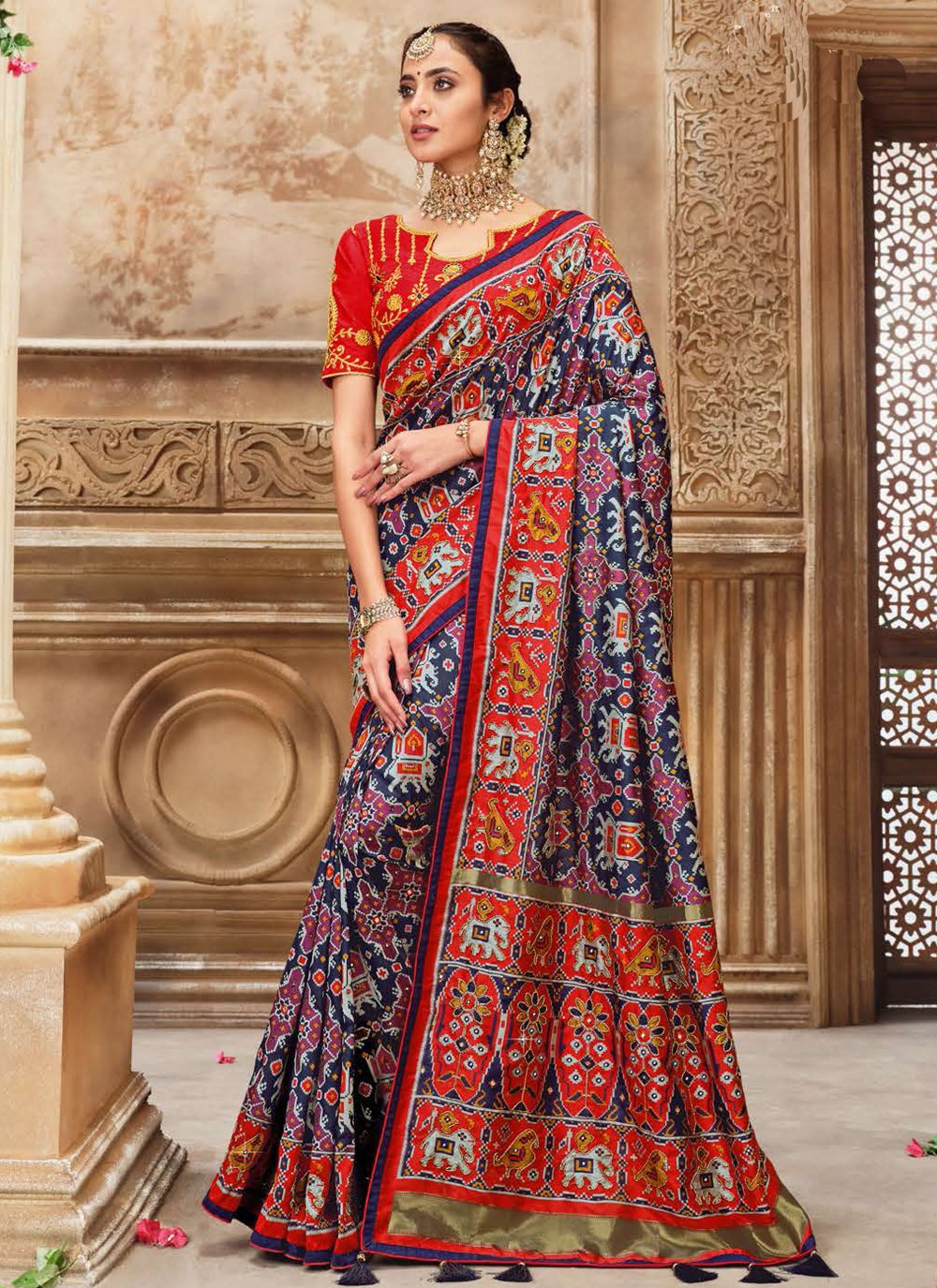 Fancy Patola Silk  Traditional Saree in Blue