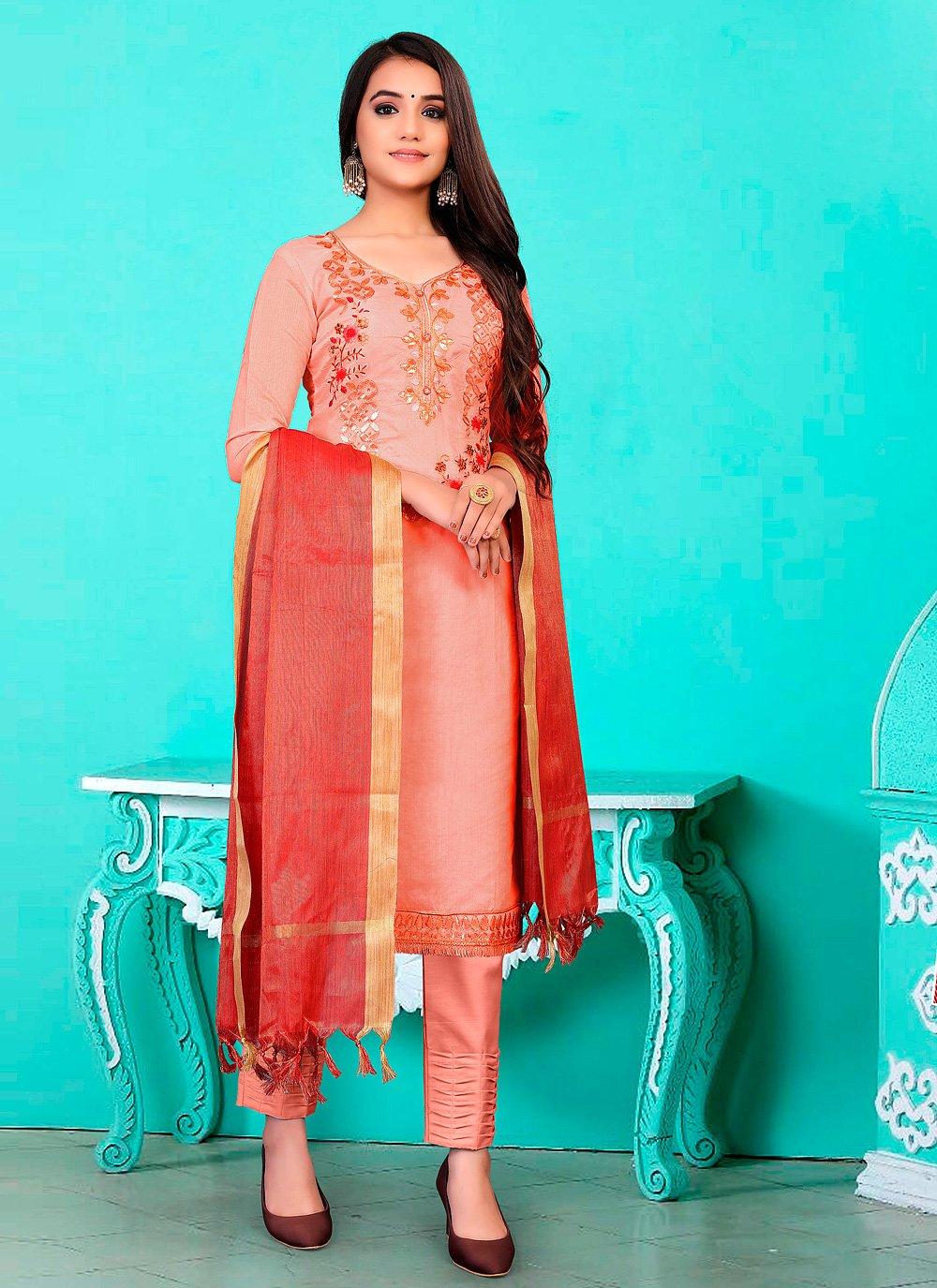 Fancy Peach Banarasi Jacquard Pant Style Suit