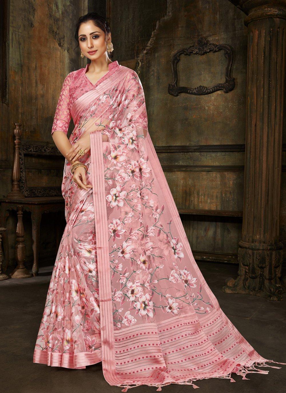 Fancy Pink Brasso Designer Saree