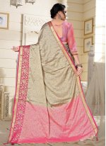 Fancy Pink Cotton Silk Traditional Saree
