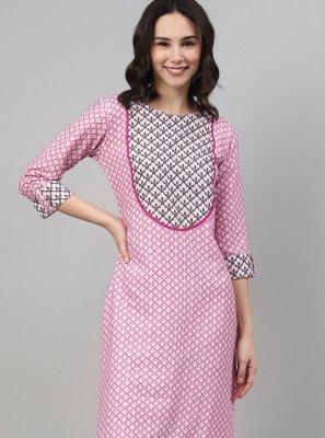Fancy Pink Rayon Party Wear Kurti
