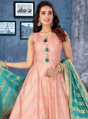 Fancy Pink Silk Floor Length Anarkali Suit