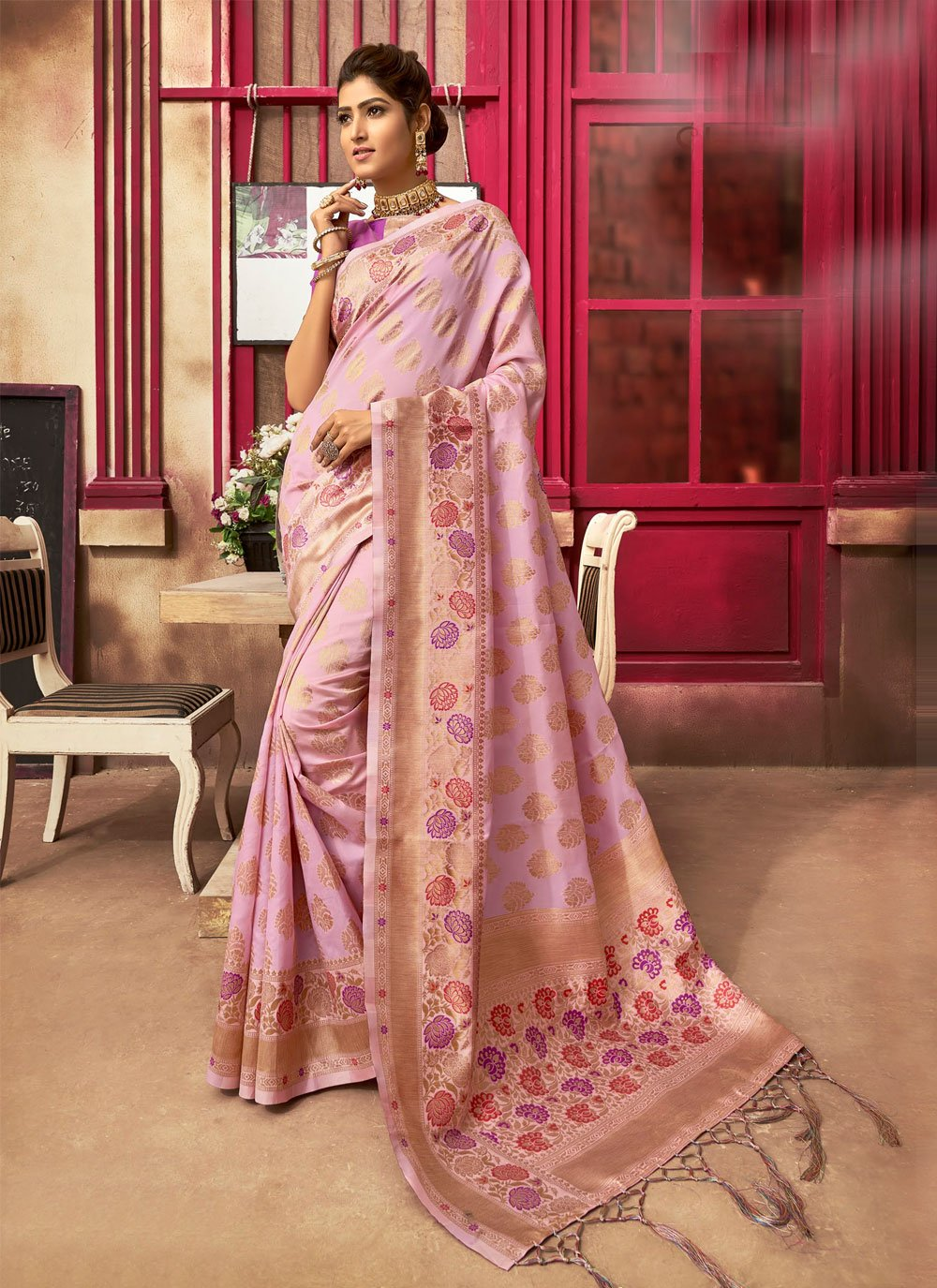 Fancy Pink Traditional Designer Saree
