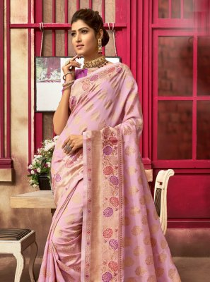 Fancy Pink Traditional Designer Saree