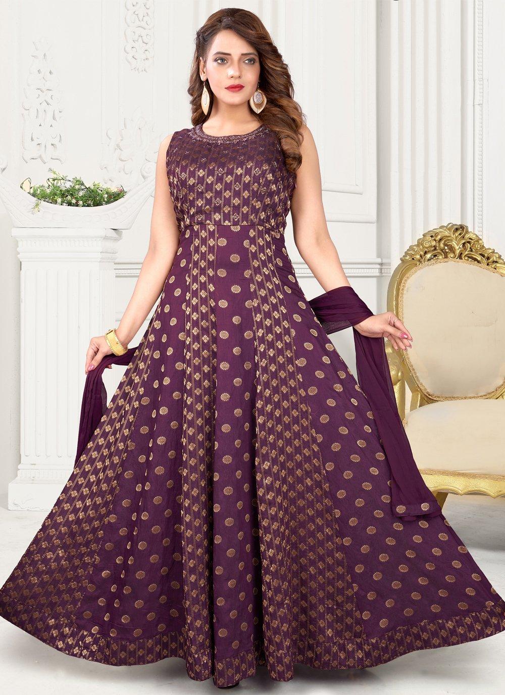Fancy Purple Art Silk Floor Length Anarkali Suit