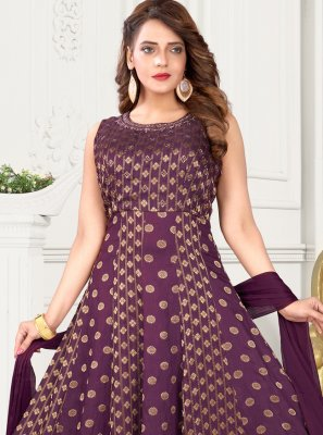 Fancy Purple Art Silk Floor Length Anarkali Suit