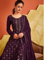 Fancy Purple Designer Palazzo Salwar Suit