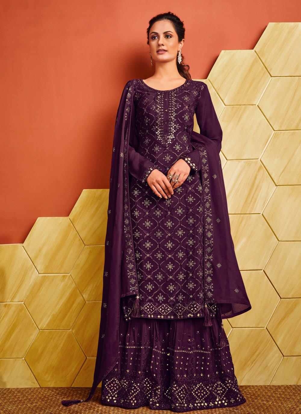 Fancy Purple Designer Palazzo Salwar Suit