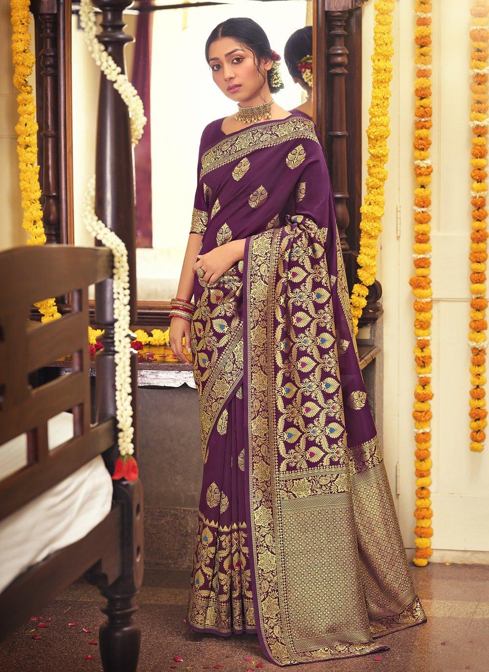 Fancy Purple Designer Traditional Saree