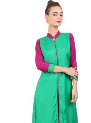 Fancy Rayon Green Party Wear Kurti