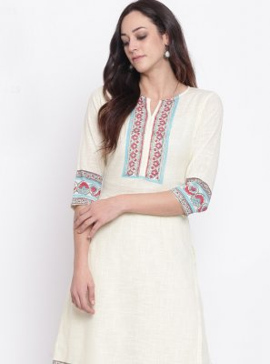 Fancy Rayon Party Wear Kurti in Off White