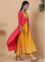 Fancy Rayon Party Wear Kurti in Yellow