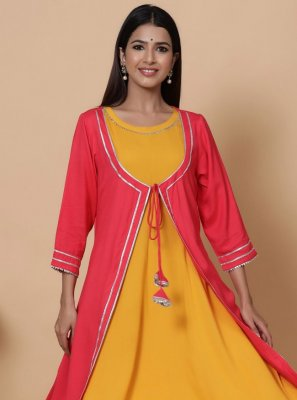 Fancy Rayon Party Wear Kurti in Yellow