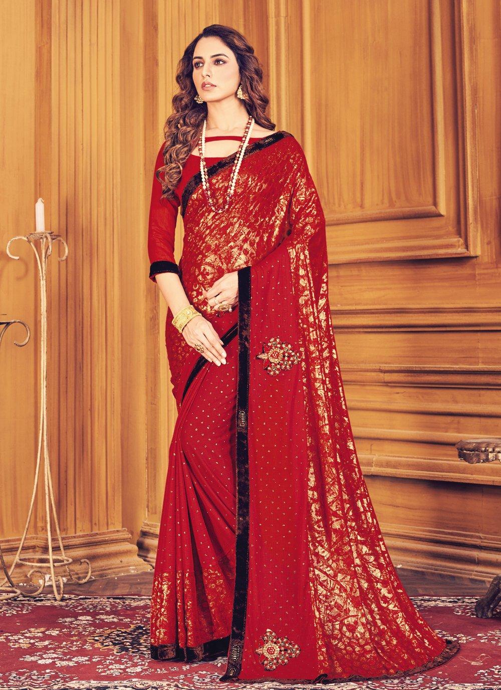Fancy Red Trendy Saree
