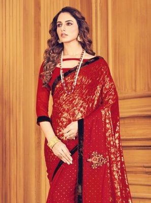 Fancy Red Trendy Saree