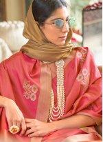 Fancy Rose Pink Traditional Designer Saree