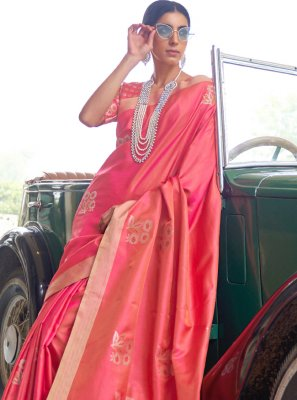 Fancy Rose Pink Traditional Designer Saree